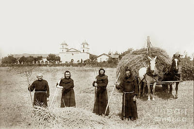 Photograph - Mission Fathers Raking Hay In A Field In Front Of Santa Barbra by California Views Mr Pat Hathaway Archives