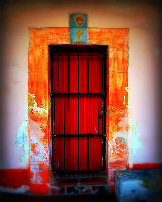 Cross-bar Photograph - Mission Red Door by Perry Webster