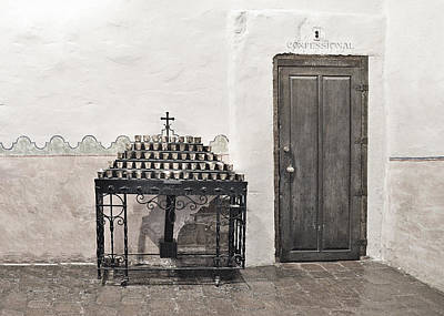 Confession Photograph - Mission San Diego - Confessional Door by Christine Till