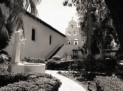 Mission San Diego Monochrome Art Print by Gordon Beck