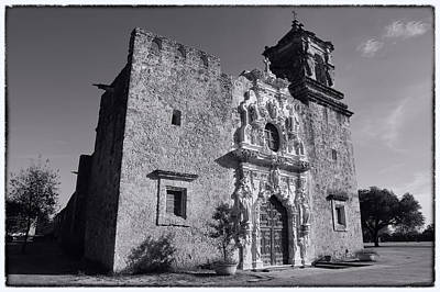 Virgin Guadalupe Photograph - Mission San Jose - Bw by Stephen Stookey