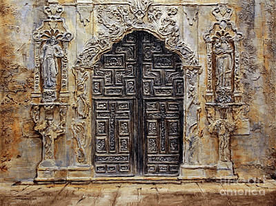 Raw Sienna Painting - Mission San Jose Church Entrance by Joey Agbayani