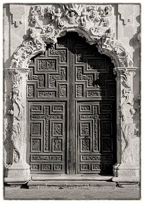 Stone Buildings Photograph - Mission San Jose Door - Bw by Stephen Stookey