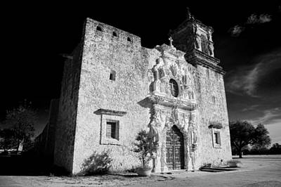 Stone Carving Photograph - Mission San Jose - Infrared by Stephen Stookey