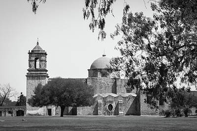Photograph - Mission San Jose - San Antonio Black And White - Texas - Usa  by Gregory Ballos