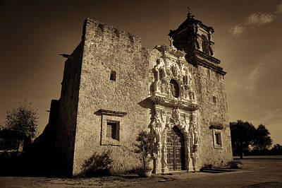 Stone Carving Photograph - Mission San Jose - Sepia by Stephen Stookey