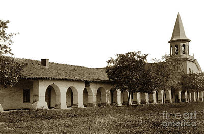 Photograph - Mission San Juan Bautista With New England Style Steeple Circa 1890 by California Views Mr Pat Hathaway Archives