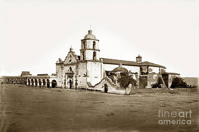 Photograph - Mission San Luis Rey Circa 1880 By C. E.  Watkins by California Views Mr Pat Hathaway Archives