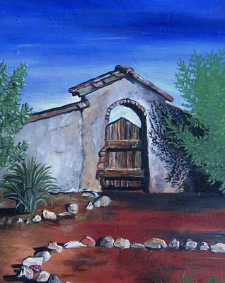 Southwest Gate Painting - Rustic Charm by Mary Ellen Frazee