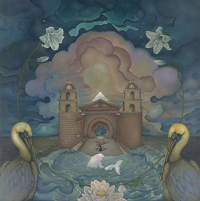 Art Print featuring the painting Mission Santa Barbara by Andrew Batcheller