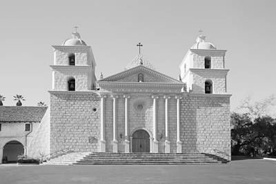 Photograph - Mission Santa Barbara - Monochrome - Black And White 2 by Ram Vasudev