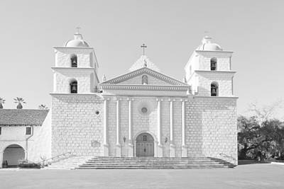 Photograph - Mission Santa Barbara - Monochrome - Black And White by Ram Vasudev