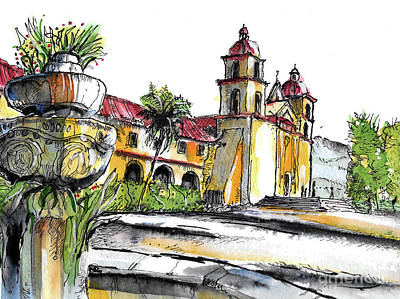 Painting - Mission Santa Barbara by Terry Banderas