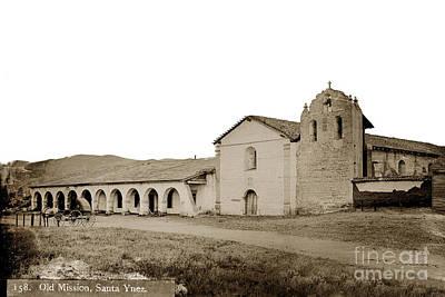 Photograph - Mission Santa Ines California Circa 1880 by California Views Mr Pat Hathaway Archives