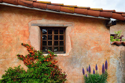 Mission Wall With Flowers Art Print by Kathy Yates