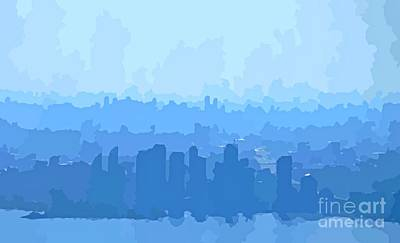 Aerial Perspective Painting - Mississauga And Etobicoke Abstract Skyline In Blue  by John Malone