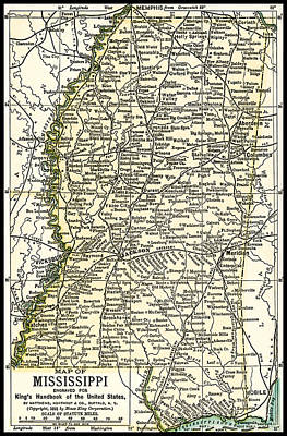 Photograph - Mississippi Antique Map 1891 by Phil Cardamone