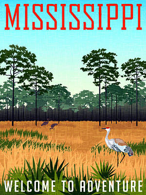 Stork Wall Art - Painting - Mississippi, Field With Trees Under The Blue Sky by Long Shot
