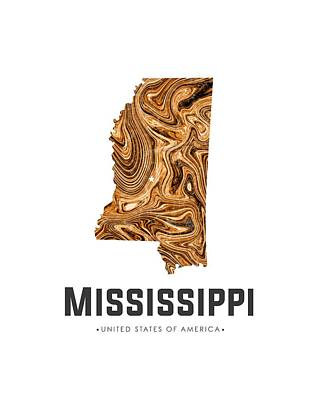 Mixed Media - Mississippi Map Art Abstract In Brown by Studio Grafiikka