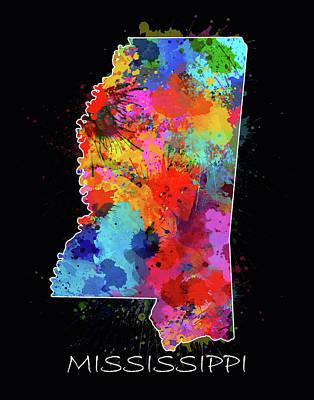 Mississippi State Map Digital Art - Mississippi Map Color Splatter 2 by Bekim Art