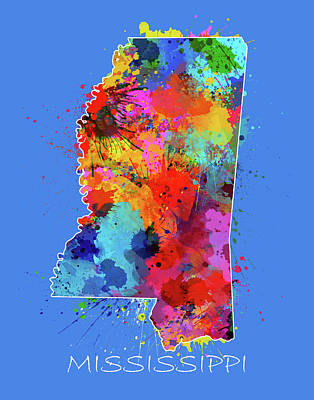 Mississippi State Map Digital Art - Mississippi Map Color Splatter 3 by Bekim Art