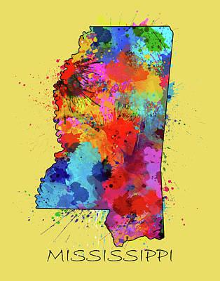 Mississippi State Map Digital Art - Mississippi Map Color Splatter 4 by Bekim Art