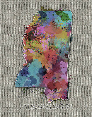Mississippi Map Digital Art - Mississippi Map Color Splatter 5 by Bekim Art
