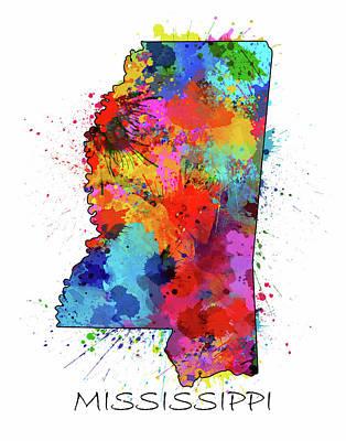 Mississippi State Map Digital Art - Mississippi Map Color Splatter by Bekim Art