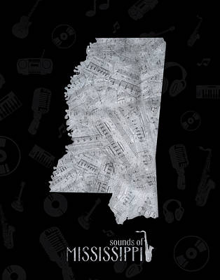 Mississippi Map Digital Art - Mississippi Map Music Notes 2 by Bekim Art