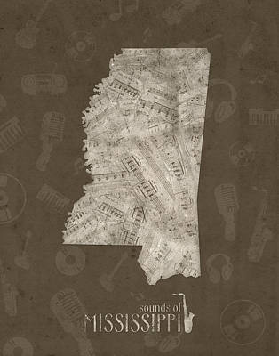Mississippi Map Digital Art - Mississippi Map Music Notes 3 by Bekim Art