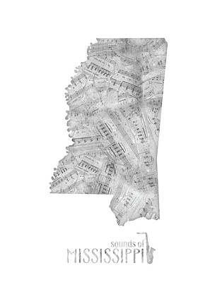 Mississippi Map Digital Art - Mississippi Map Music Notes by Bekim Art