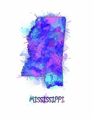 Mississippi State Map Digital Art - Mississippi Map Watercolor 2 by Bekim Art