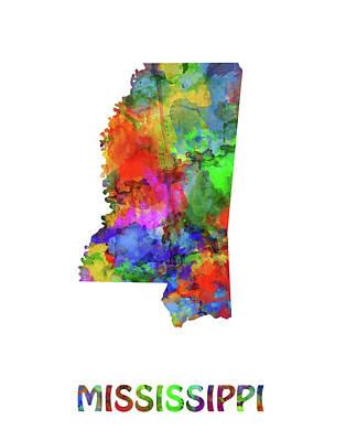 Mississippi State Map Digital Art - Mississippi Map Watercolor by Bekim Art