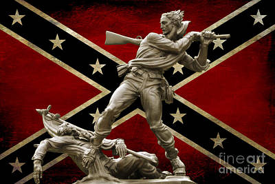 Mississippi Monument And Confederate Flag Art Print by Randy Steele
