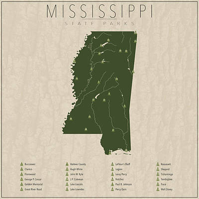 State Of Mississippi Digital Art - Mississippi Parks by Finlay McNevin