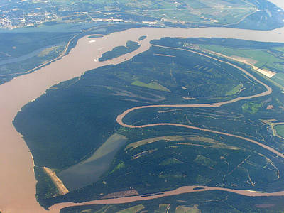 Mississippi River Aerial Shot Art Print by Randy Muir