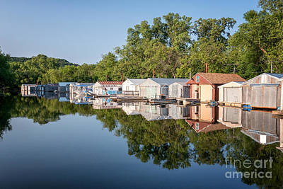 Latsch Island Photograph - Mississippi River Boathouses by Kari Yearous