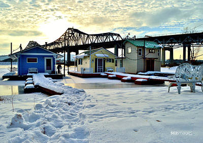 Mississippi River Boathouses Art Print