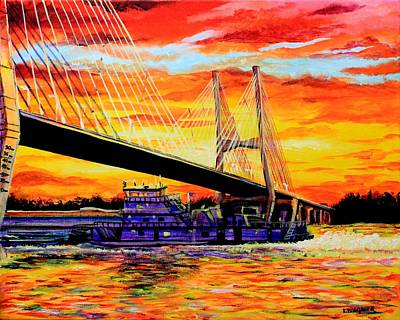 Painting - Mississippi River Bridge Greenville Ms by Karl Wagner