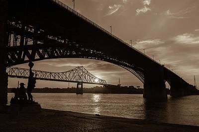 Photograph - Mississippi River Sunrise Through Eads Bridge - Saint Louis Missouri - Sepia  by Gregory Ballos