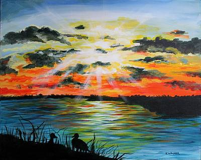 Waterfowl Painting - Mississippi River Sunset by Karl Wagner