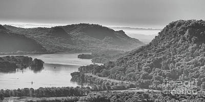 Photograph - Mississippi River Valley At Winona Black And White Yearous by Kari Yearous