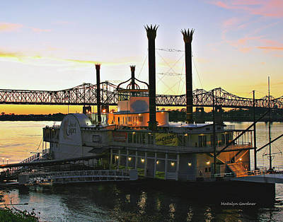 Photograph - Mississippi Riverboat Sunset by Matalyn Gardner