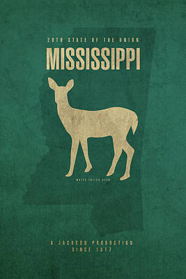 Mississippi Map Mixed Media - Mississippi State Facts Minimalist Movie Poster Art by Design Turnpike