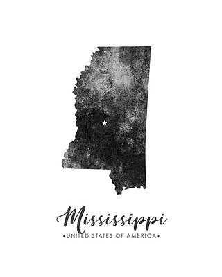 Mississippi State Map Art - Grunge Silhouette Art Print