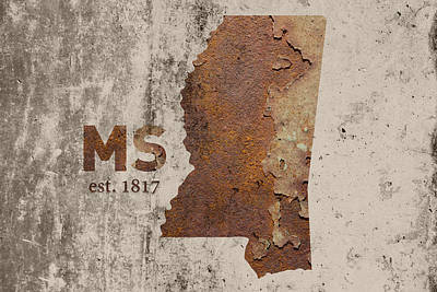 Mississippi State Map Industrial Rusted Metal On Cement Wall With Founding Date Series 012 Art Print by Design Turnpike