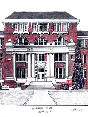 Drawing - Mississippi State University by Frederic Kohli