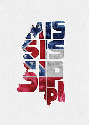 World Map Poster Digital Art - Mississippi Typographic Map Flag by Inspirowl Design