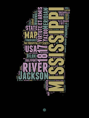 Mississippi Word Cloud 1 Art Print by Naxart Studio