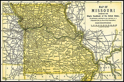 Photograph - Missouri Antique Map 1891 by Phil Cardamone